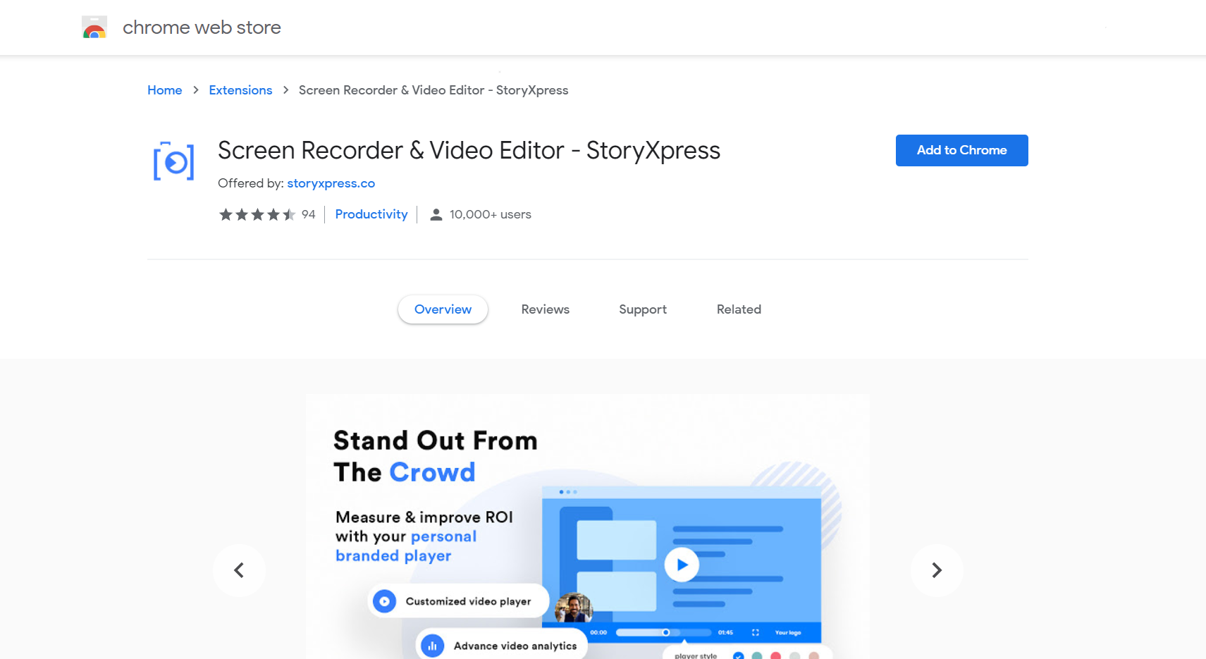 The landing page of a Chrome Extension - StoryXpress Recorder
