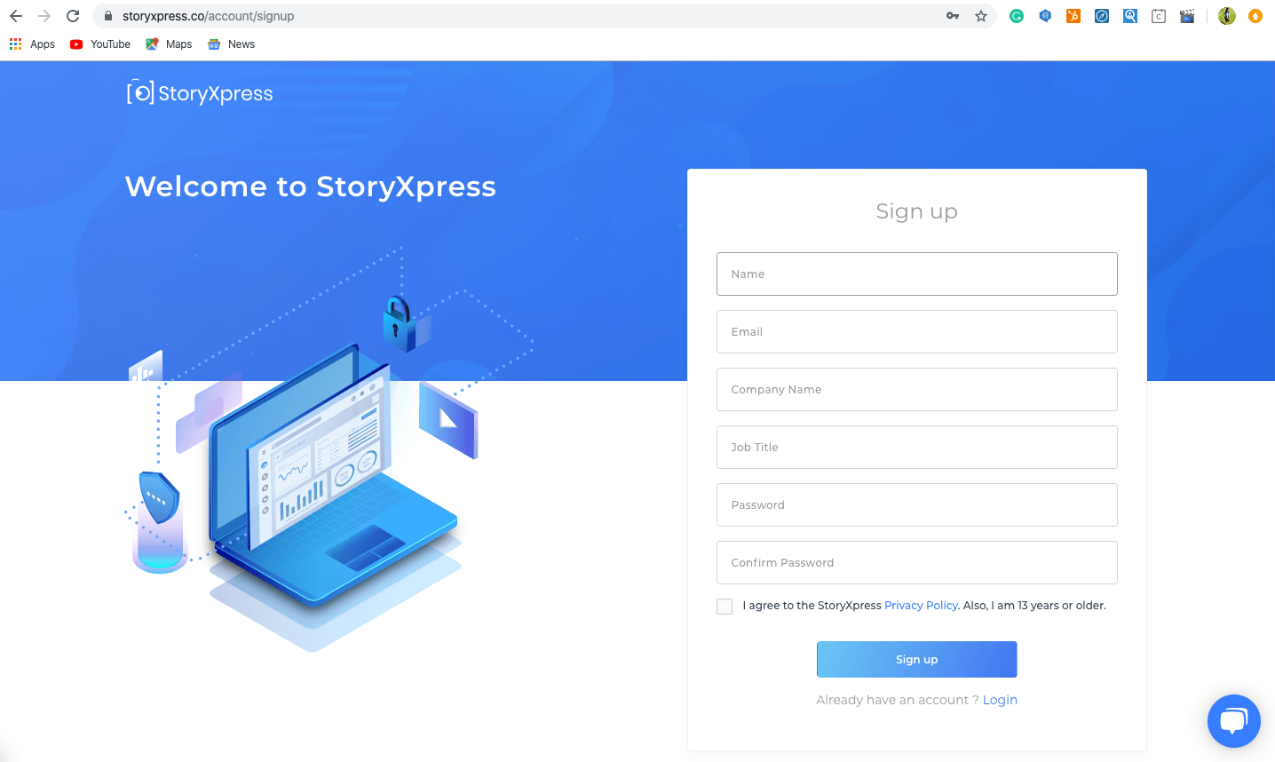 StoryXpress Sign Up Page