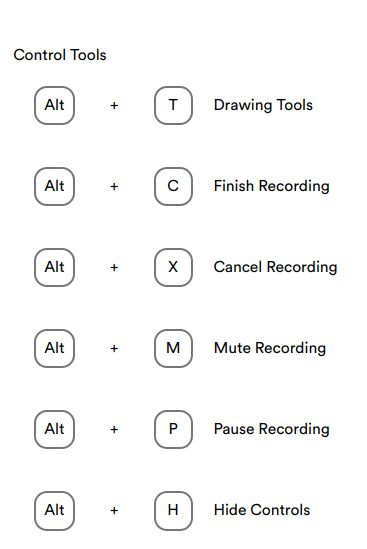 Recorder shortcut keys 1